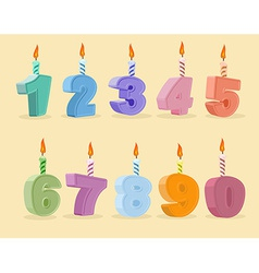 Set birthday candles cartoon numbers vector