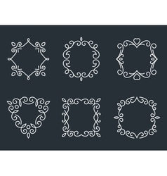 Outline monogram frames vector