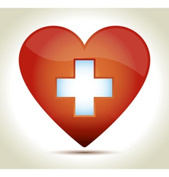 Red heart cross vector