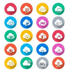 Cloud computing flat color icons vector
