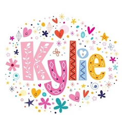 Kylie female name decorative lettering type design vector
