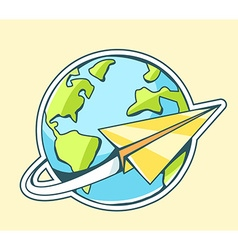 Paper plane flying around planet earth on vector