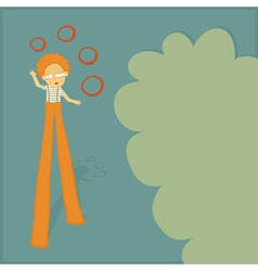 Stilt walker juggler vector