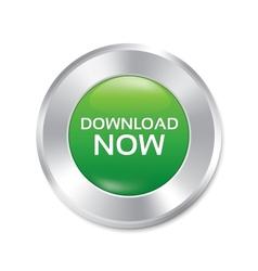 Download now button green round sticker vector