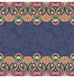Ethnic stripe ornament on floral background vector