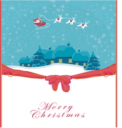 Happy new year card with santa and winter landscap vector