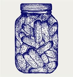 Preserved cucumbers in a jar vector