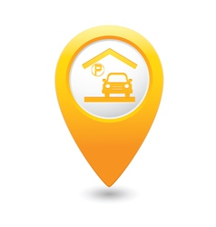 Parking under roof icon map pointer yellow vector