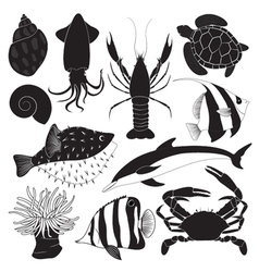 Black sea creature icons vector