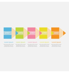 Colorful pencil arrow five step timeline infograph vector