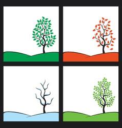 Seasons tree on hill vector