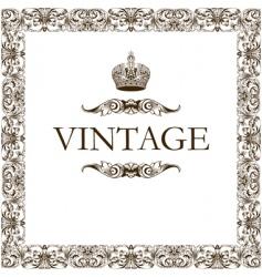 Vintage frame decor crown vector