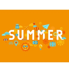 Summer poster in flat style vector