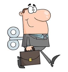 Businessman with wind-up key in his back vector