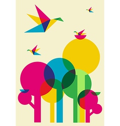 Spring time humming birds and trees vector