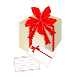 A gift box with red ribbon and blank gift card vector