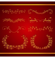 Set of elegant calligraphic foliate golden borders vector