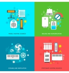 Heatingand conditioning icons set vector
