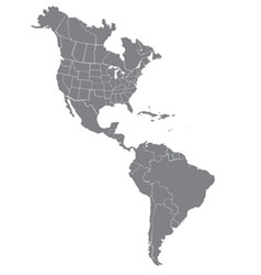 North and south america map vector