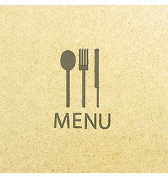 Fork and knife recycled paper stick on pattern old vector