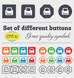 Printing icon sign big set of colorful diverse vector