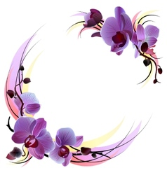 White greeting card with violet orchids vector