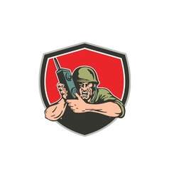 World war two american soldier field radio shield vector