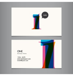 Business card with number 1 vector