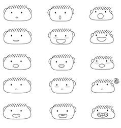 Linear cute boy faces emoji vector
