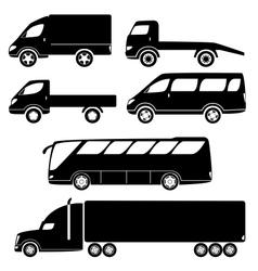 Modern passenger and freight cars silhouettes vector