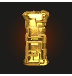 Golden letter i vector