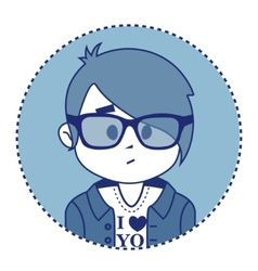 Character surprise hipster with glasses vector