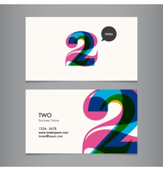 Business card with number 2 vector