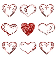 Valentine heart pictogram set vector