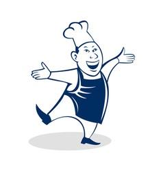Cartoon happy asian chef cook baker vector