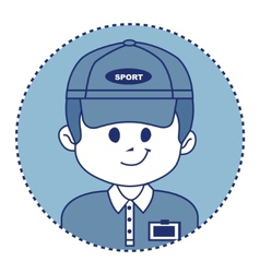 Man in a baseball cap with badge vector
