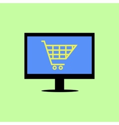 Flat style computer with shopping cart vector