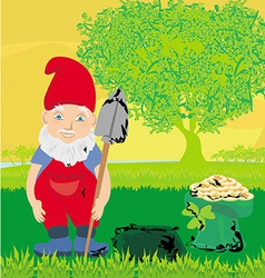 Cute dwarf with pot of gold coin vector