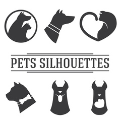 Vintage pets silhouettes collection vector