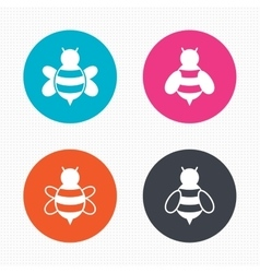 Honey bees icons bumblebees symbols vector
