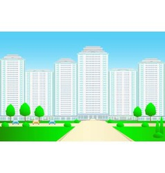 Landscape with skyscrapers and street vector
