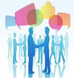 Person shaking hands with speech bubbles vector
