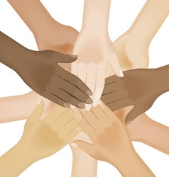 Multiracial human hands vector