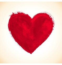 Hand-drawn painted red heart vector