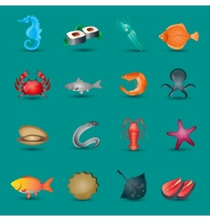 Seafood icons set vector