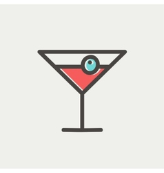 Cocktail drink with cherry thin line icon vector