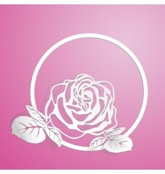 Stylized pink rose is on the circle vector