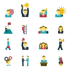Leadership icons set vector