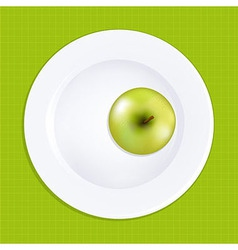 Green apple on white plate vector