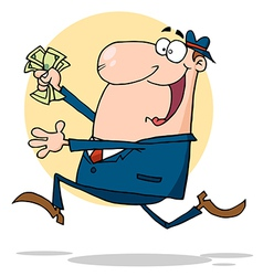 Businessman running with dollars in hand vector